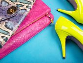 picture of stiletto heels  - Neon high heels - JPG