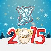 Happy New Year 2015 celebrations greeting card design with stylish text and sheep on snowflakes decorated background.