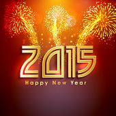 Happy New Year 2015 celebrations with golden text on fireworks decorated background.