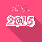 Happy New Year 2015 celebration greeting card design with stylish text on pink background.