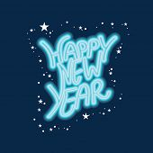 Happy New Year celebrations greeting card design with stars decorated on blue background.