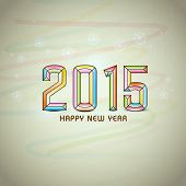 Happy New Year 2015 celebrations greeting card design on abstract background.