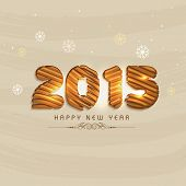 Happy New Year 2015 celebrations greeting card design with stylish text on snowflakes decorated beige background.