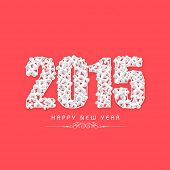 Happy New Year 2015 celebrations greeting card design with stylish text on pink background.