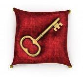 Golden key on royal red velvet pillow isolated on white background