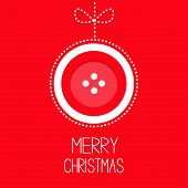 foto of applique  - Hanging red button merry Christmas ball with bow dash line thred applique Card Flat design Vector illustration - JPG