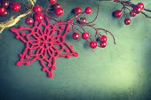 Christmas vintage background. Old styled shabby card design with copy space