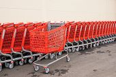 Red Plastic Baskets-carts For Goods