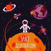 foto of orbit  - Space concept with astronaut on moon and rocket satellites on orbit flat vector illustration - JPG
