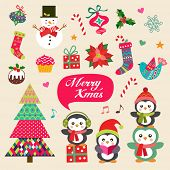 Vector set of Christmas decoration with symbols, icons elements