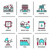 stock photo of motel  - Flat line icons set of hotel resort area motel building parking sign swimming pool fuel station restaurant food serving - JPG
