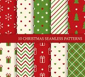 10 Christmas Different Seamless Patterns. Endless Texture For Wallpaper, Web Page Background, Wrappi