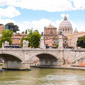 view of Ponte Principe Amedeo and St. Peter's basilica, Rome, Italy