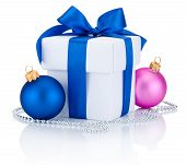 White Box Tied Ribbon Bow, Blue And Pink Christmas Balls Isolated On White Background