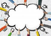 Group of Hands Holding Speech Bubble Cloud Shape