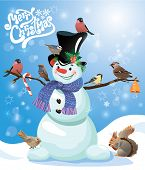 Card With Funny Snowman And Birds On Blue Snow Background, Cartoons For Winter, Christmas Or New Yea