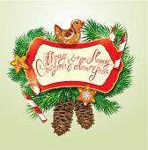 Card With Xmas Gingerbread, Candy Canes And Fir-tree Branches. Hand Written Text Merry Christmas And
