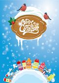 Christmas And New Year Holidays Card With Small Fairy Town On Light Blue Sky Background With Decorat