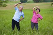 Happy Asian Senior Couple Doing Gymnastics In The Park.healthy Concept