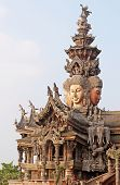 Details Of Sanctuary Of Truth Temple (also Called Wang Boran And Prasat Mai), Pattaya, Thailand