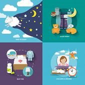 stock photo of sleeping  - Sleep time icons flat set with good night bed colourful dreams isolated vector illustration - JPG