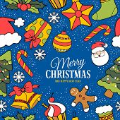 Cute Merry Christmas greeting card with holiday symbols