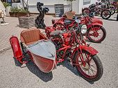 Vintage Italian Motorcycle Moto Guzzi With Sidecar