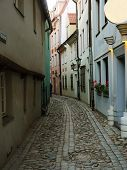 Narrow Street In The Old Riga City, Latvia. In 2014