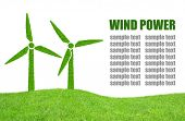 Green wind turbines symbol  on white background