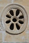 Decorative Round Window Close-up In The Ancient Church, Montenegro
