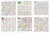 Illustrated Set Of World Flags - Square - Shield - Circle - Heart- Football - Sim Card