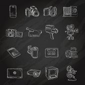 Photo video icons chalkboard