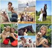 collage with beautiful women and animals