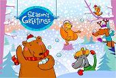 Seasonal greetings, illustration of cute animals playing  snowballs.