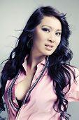 Sexy Asian Posing For Portrait In Studio
