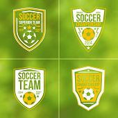 Set Of Soccer Championship Flat Emblems