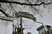 stock photo of rest-in-peace  - Pax vobis or Peace to You - a Latin sentence over the gate to Vysehrad cemetery in Prague, Czech Republic
