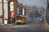 Urban street with smoggy view in Belgium