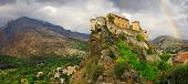 Corte - impressive medieval town in Corsica, view with citadel a