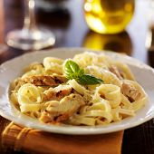 picture of pasta  - fettuccine alfredo pasta with grilled chicken at night time dinner - JPG