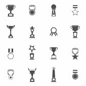 stock photo of prize  - Trophy icons black set of champion medallion winner prize first place laurel wreath isolated vector illustration - JPG