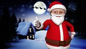 Cute cartoon santa claus against christmas house under full moon