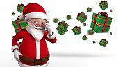 Cute cartoon santa claus against flying christmas presents