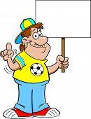 Cartoon Soccer Fan Holding a Sign