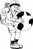 Illustration of smiling traveler holding a globe