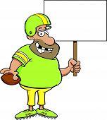 Cartoon Football Player Holding a Sign