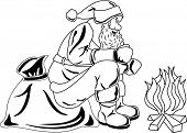 Illustration of Santa Claus sitting by the fire