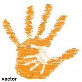 Vector concept or conceptual cute drawing orange paint hands of mother and child isolated on white background