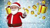 Cute cartoon santa claus against white snow and stars design
