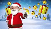 Cute cartoon santa claus against snowy landscape with fir trees